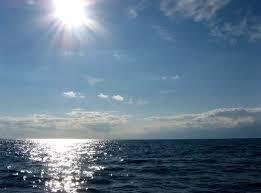 sun glinting on water