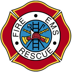 One of the many EMS badges firefighters may wear