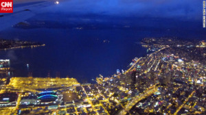 Aerial view of Seattle in early evening